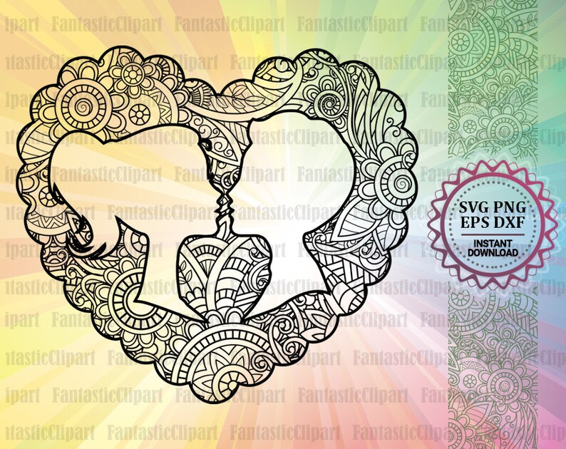 Download Heart Mandala Svg Love Mandala Svg Couple Love Svg Love | Etsy