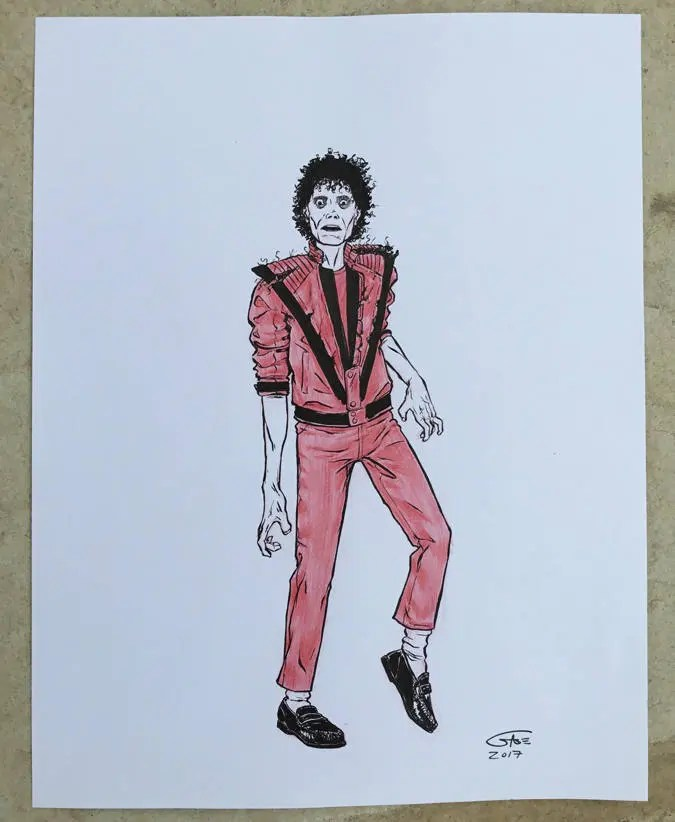 Michael Jackson Thriller Drawing : michael, jackson, thriller, drawing, Michael, Jackson, Thriller, 8.5x11, Inked, Drawing
