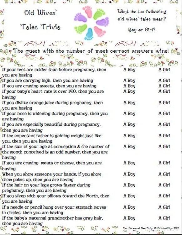 Old Wives Tales Trivia Baby Shower Game