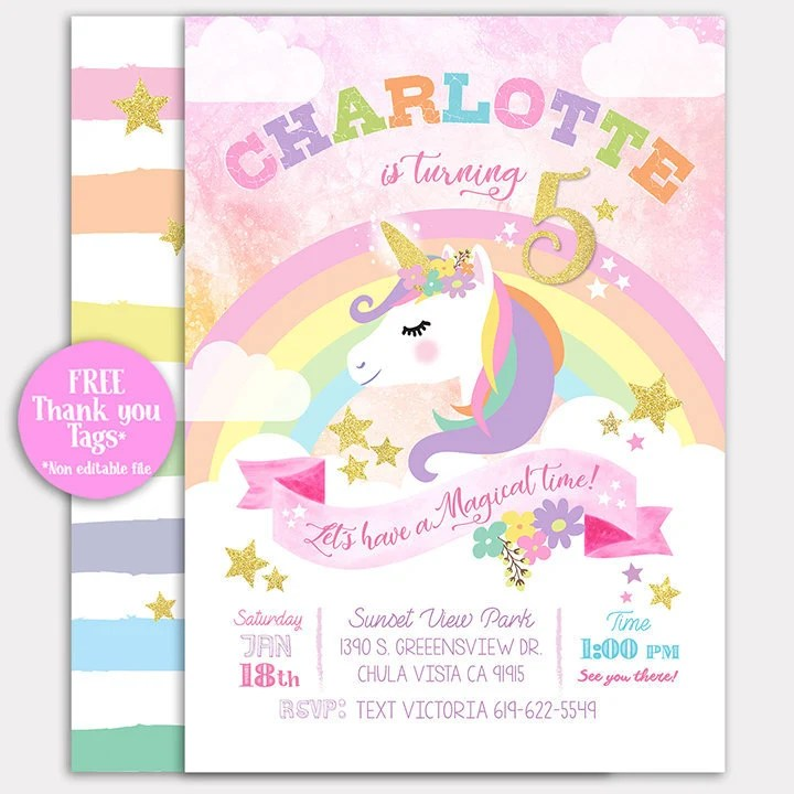 printable unicorn invitations