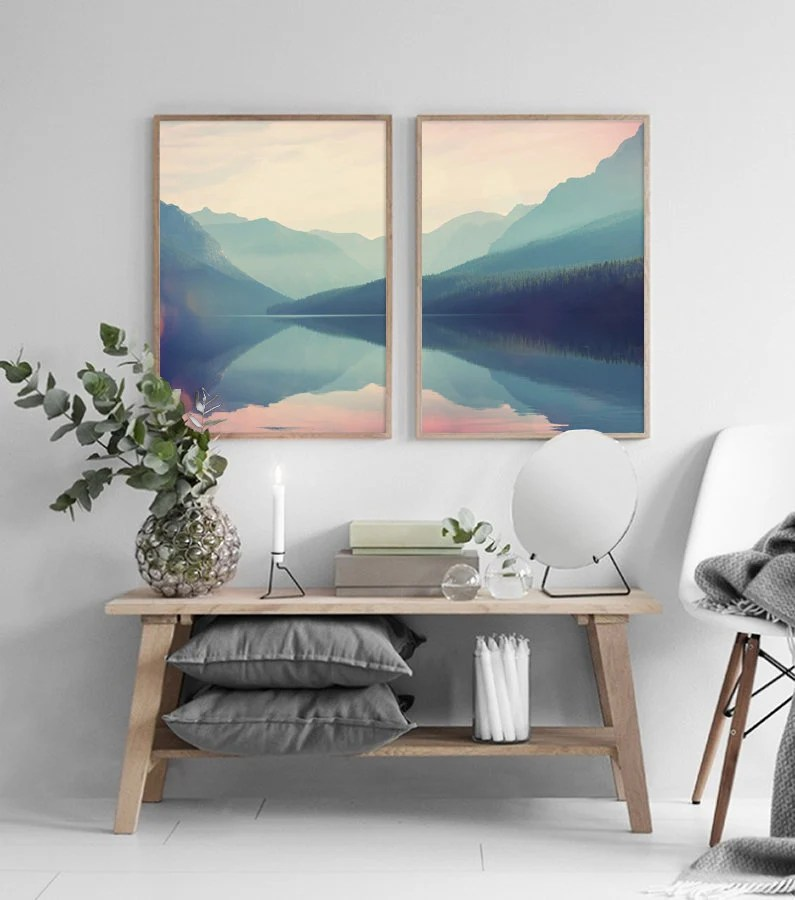 images of living room wall decor staircase ideas art etsy mountain set print landscape printable scandinavian home