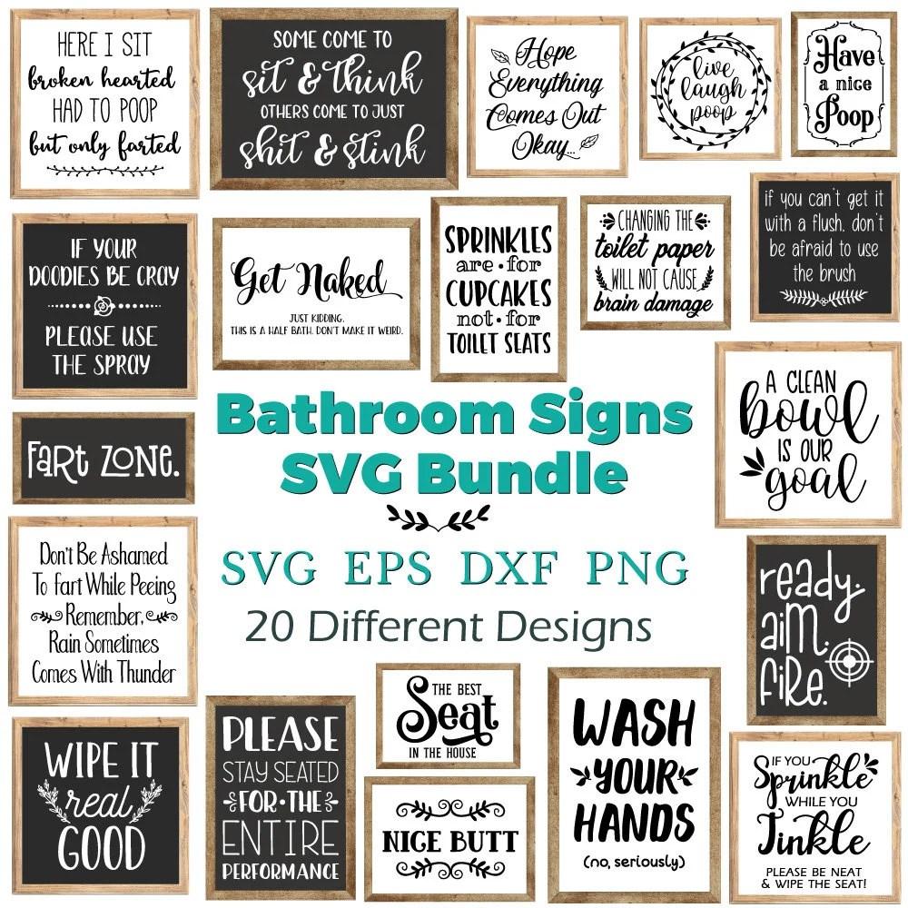 Bathroom Sign Svg Bundle Funny Bathroom Svg Restroom Quotes Etsy