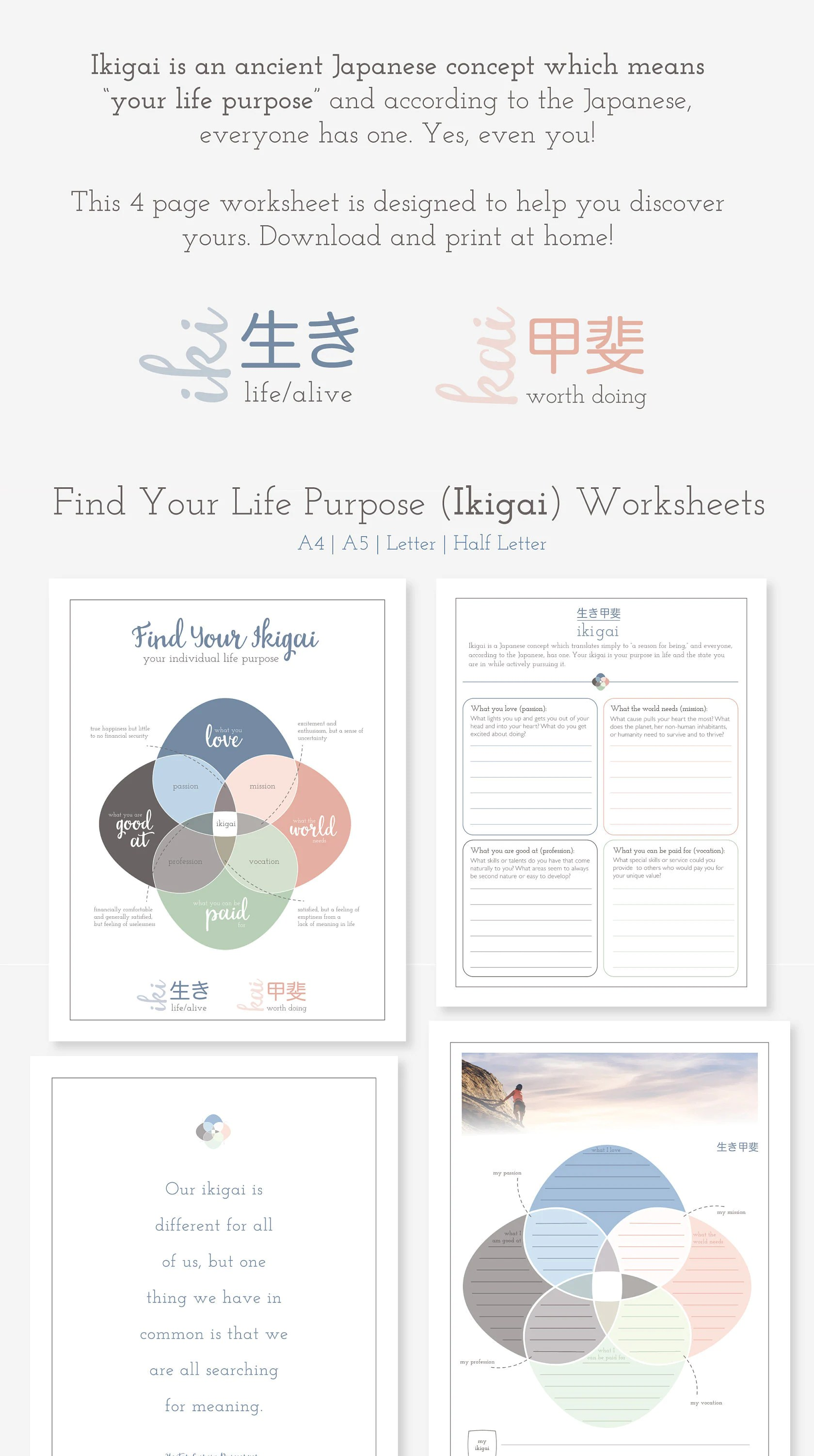 Find Your Ikigai Printable Worksheet Available In A4 A5