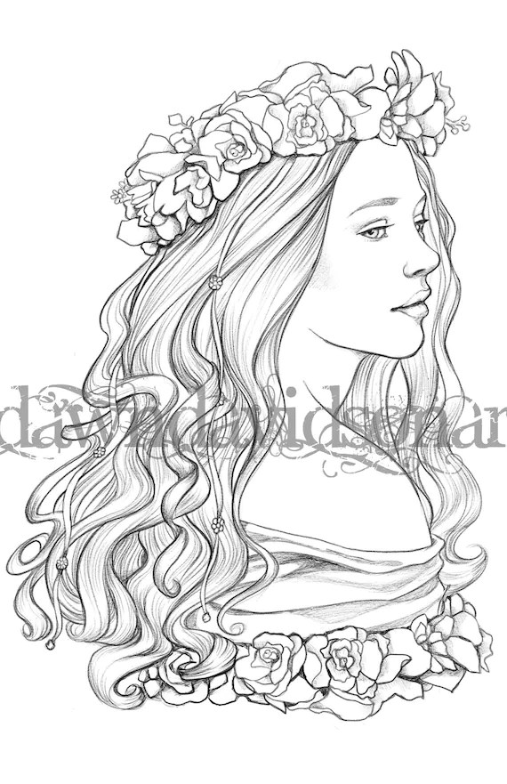 Queen of May Adult Coloring Pages Grayscale Colouring for