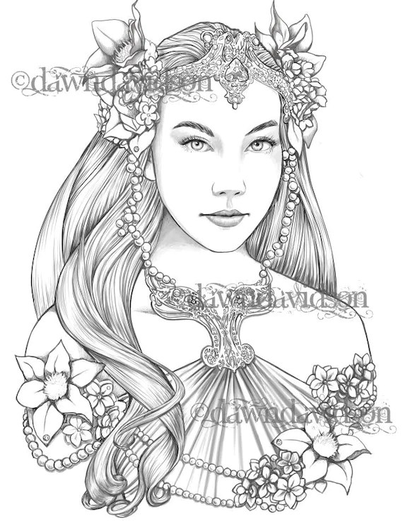 Queen of the Elves Coloring Page Printable Colouring for