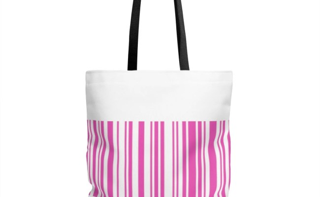 Unique Pink Tote Bar Code Tote Gift For Shoppers
