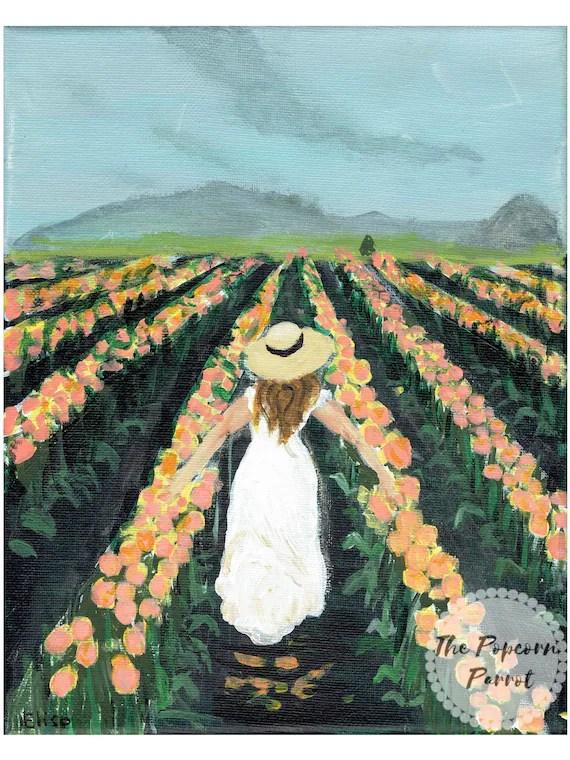 Woman In Field Painting : woman, field, painting, Print, Woman, Tulip, Field, Decor