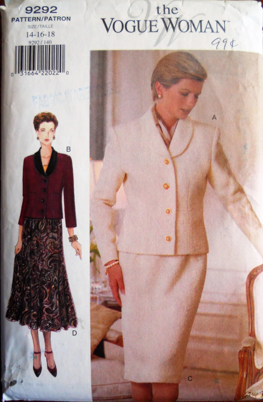 Woman Suit Pattern : woman, pattern, Vogue, 9292., Woman, Pattern., Misses, Jacket, Skirt
