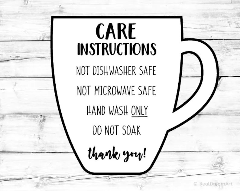 Mug Care Instructions Card Svg Cup Care Card Svg Digital