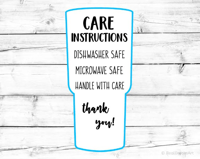 Tumbler Care Instructions Card Svg Care Card Svg Digital