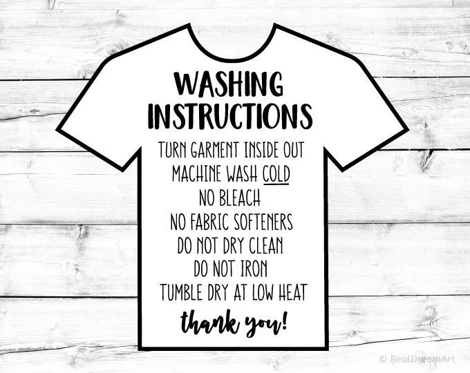 Washing Instructions Svg Care Instructions Card Svg Shirt