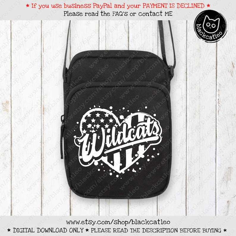 Download Wildcats on heart with american flag SVG Love Wildcats t ...