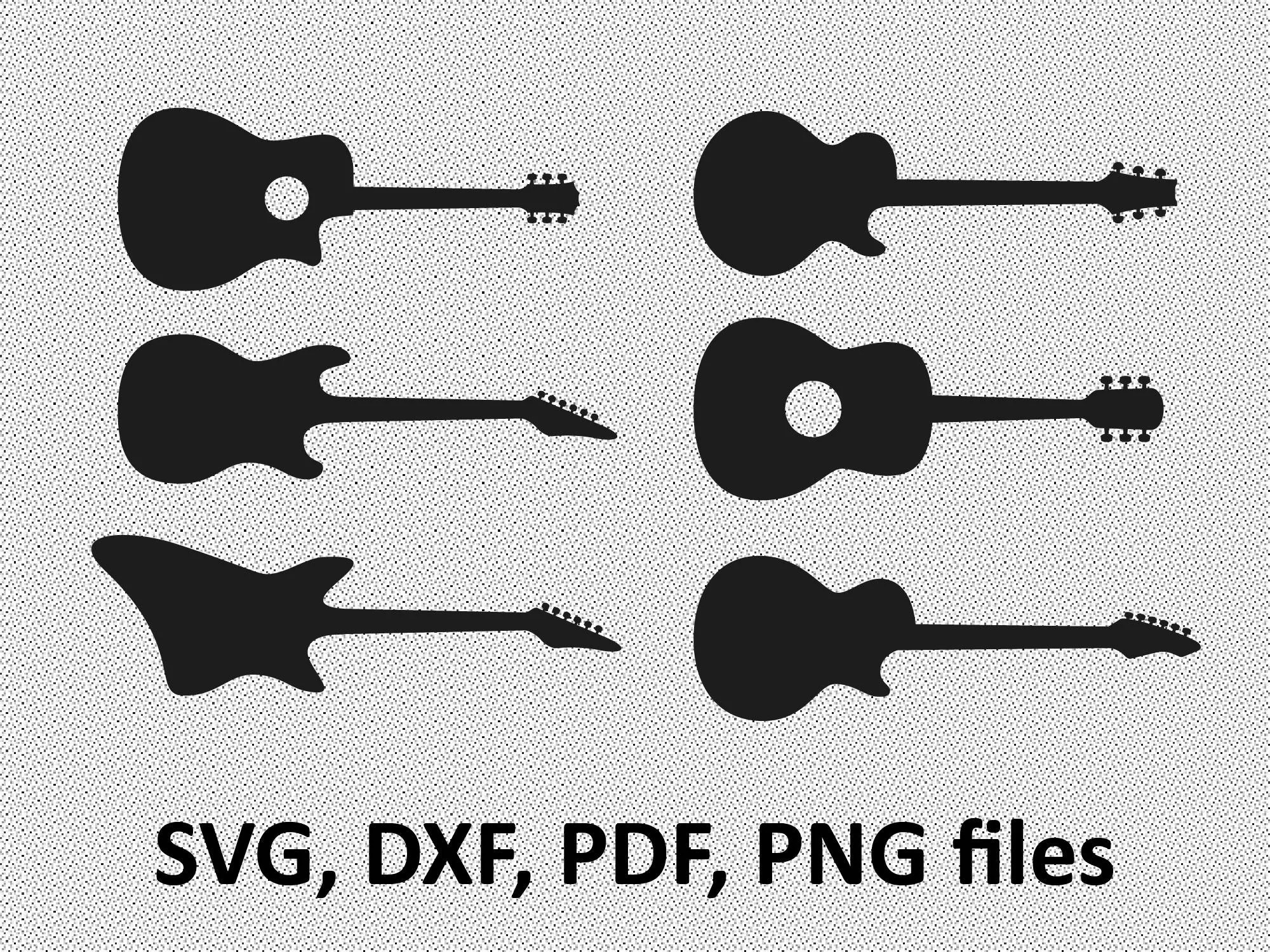 Guitar Svg Guitar Dxf Guitar Clipart Svg Files Printing