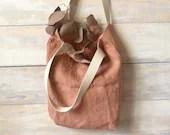 Naturally dyed linen shopper bag with plants - Simple canvas bag, shopping bag, zero waste reusable tote bag