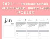 "2021 Traditional Catholic Planner - Weekly - Vertical - Hourly layout - 7"" x 9"" size"