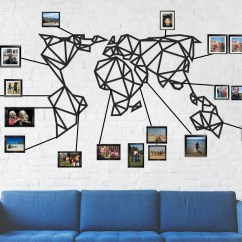 Metal Wall Art Decor For Living Room Small Open Plan Kitchen Dining And World Map Geometric Etsy Image 0