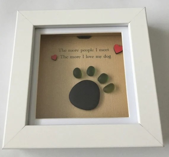 Dog Paw pebble Art for the Dog Lover Gift