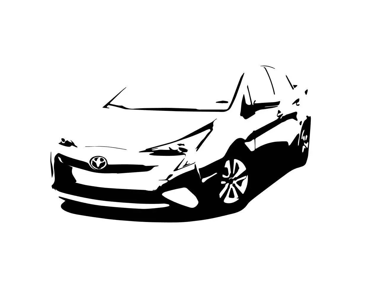 Toyota Prius Front Side B Amp W Line Drawing Vector Vectorized