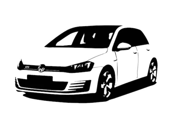 VW GTI front side B&W line drawing vector vectorized print