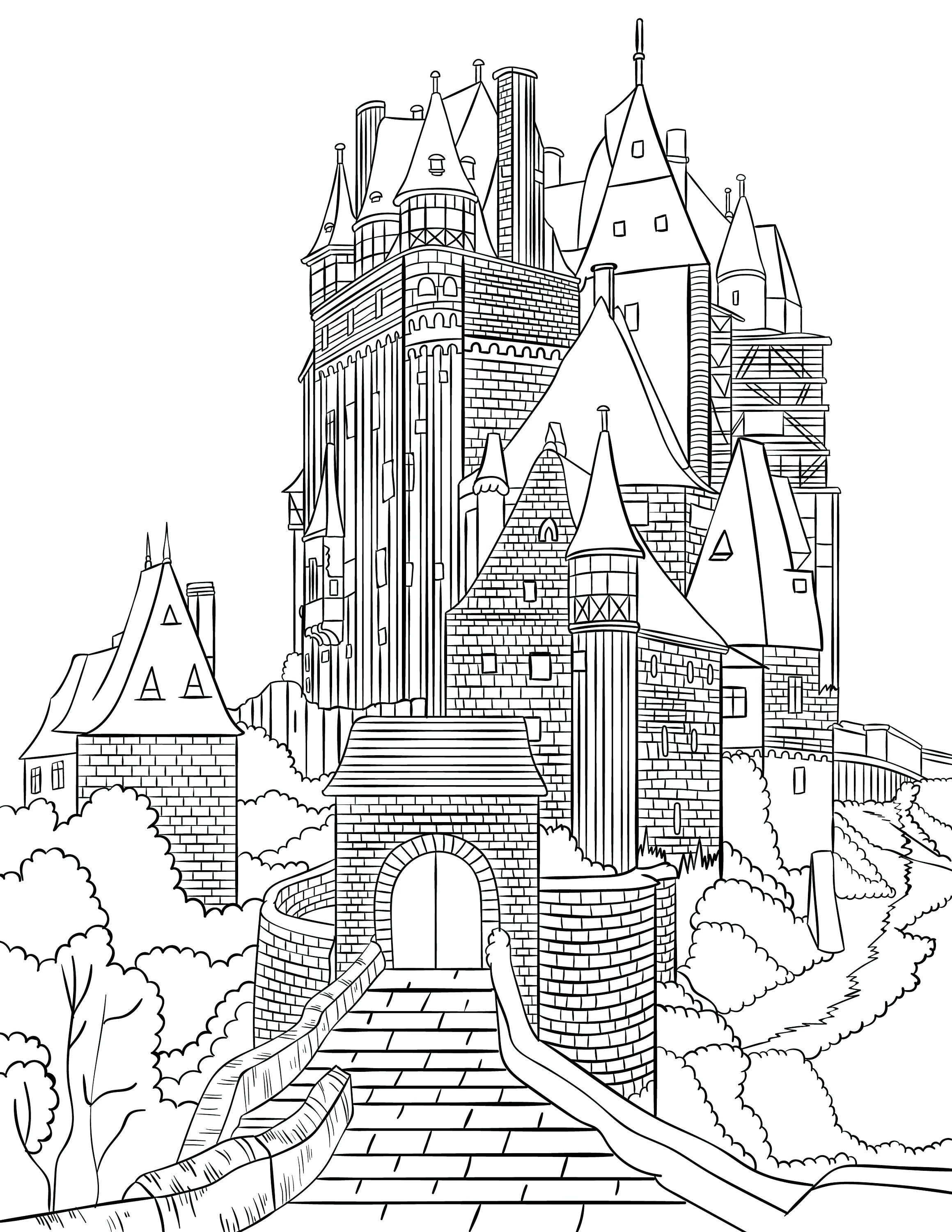 Medieval Fairy Tale Castles Adult Coloring Pages & Puzzle