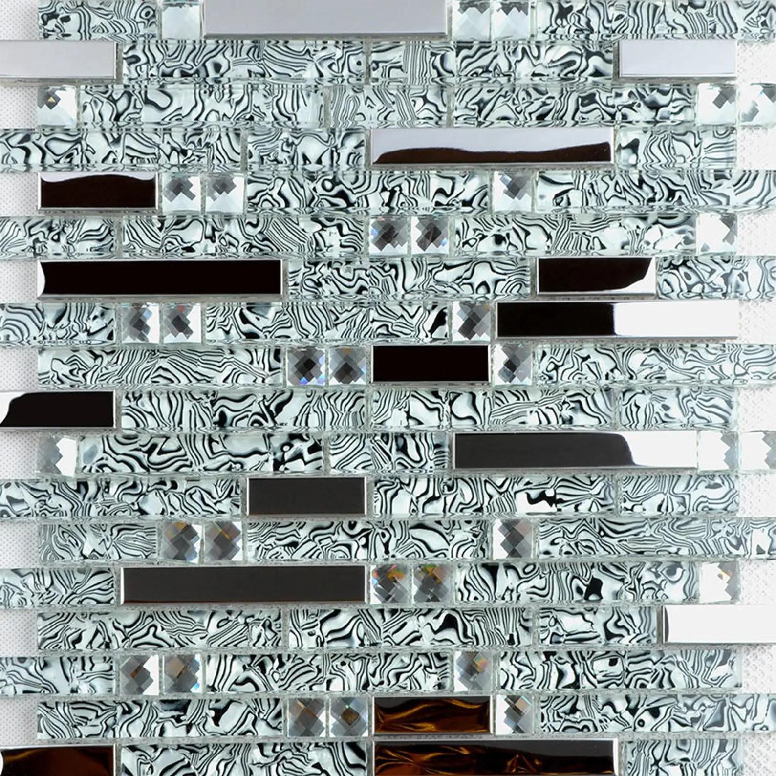 black white glass mosaic silver metal kitchen tile backsplash silver stainless steel glass tiles ssmt397 glass mosaic bathroom tile