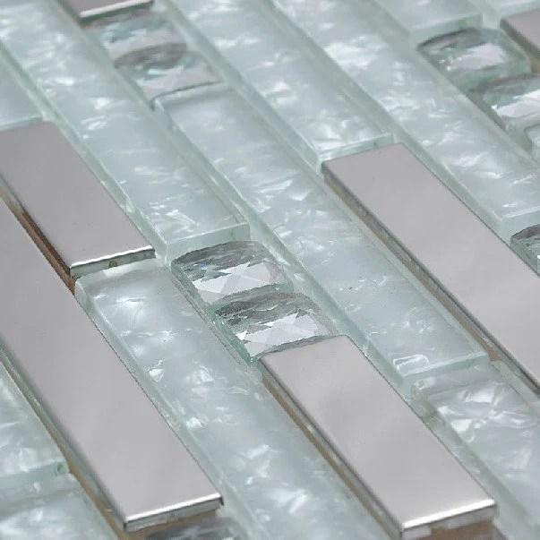 silver metal glass mosaic tile kitchen backsplash ssmt131 etsy