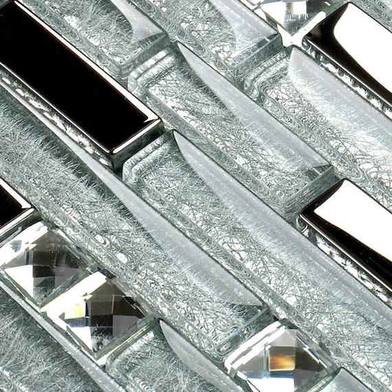 silver glass mosaic tile backsplash mirror kitchen bathroom etsy