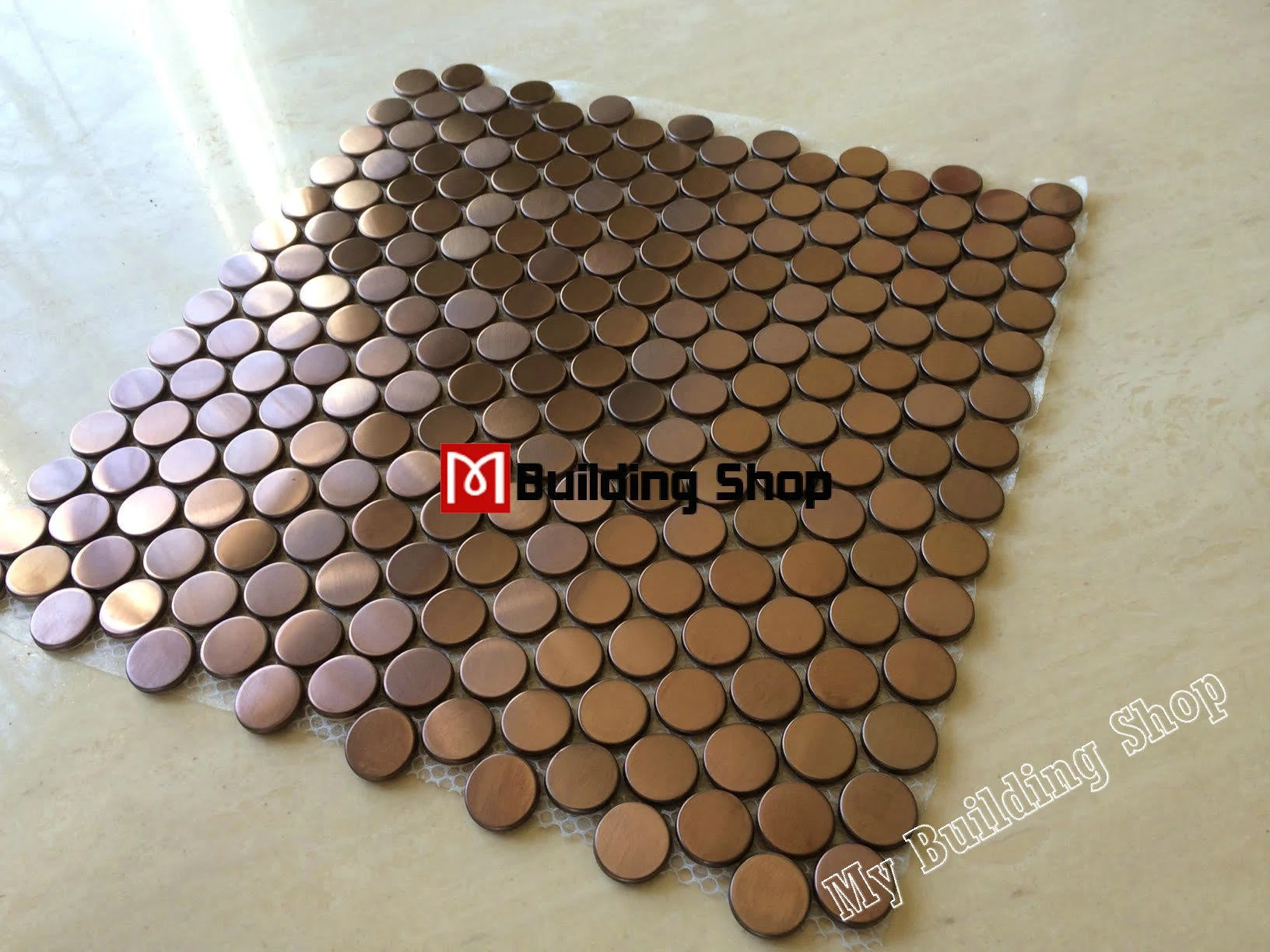 penny round copper bronze metal mosaic smmt020 gold metal etsy