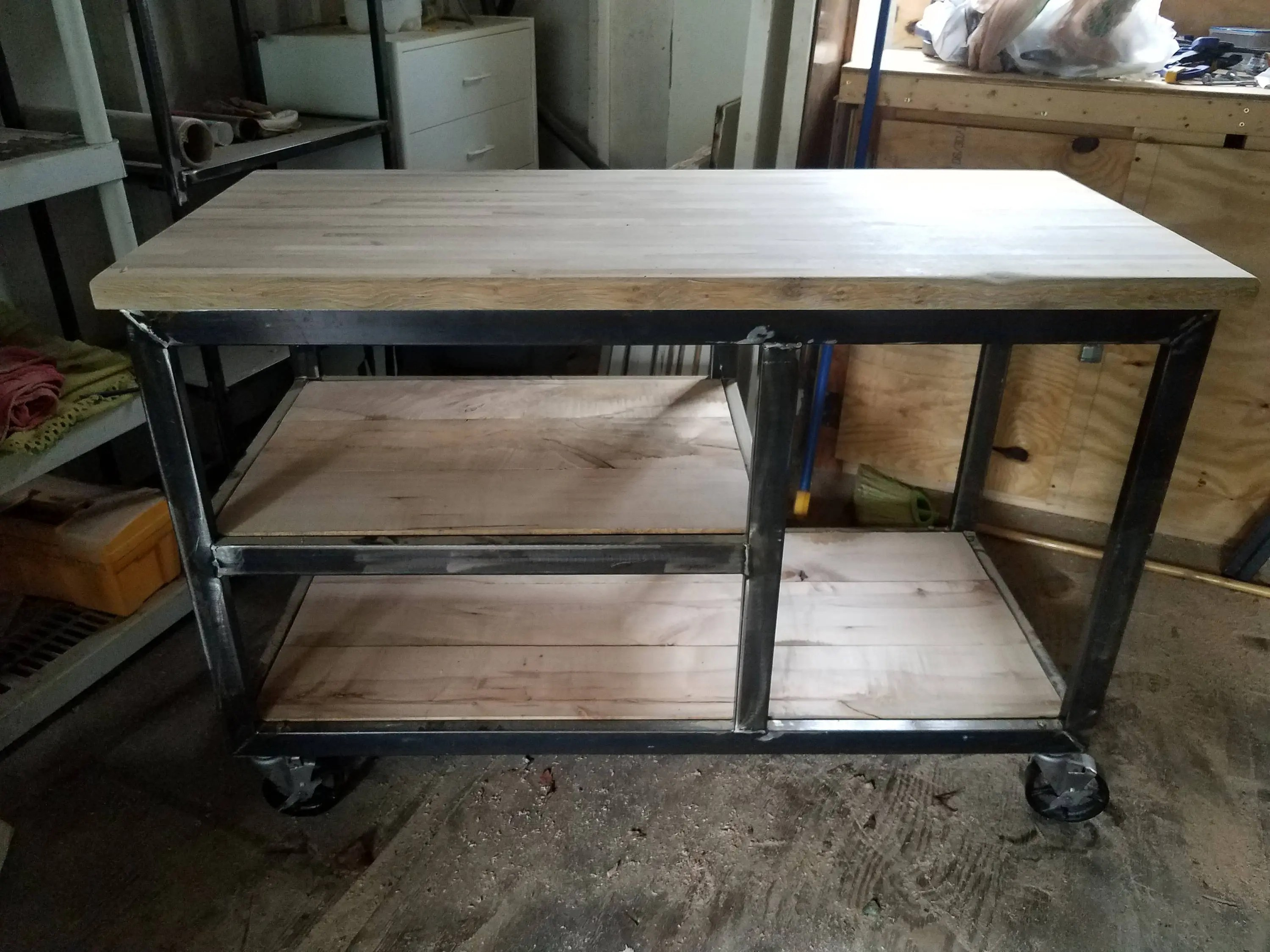 kitchen workbench white cabinets industrial island etsy eyna metal and wood