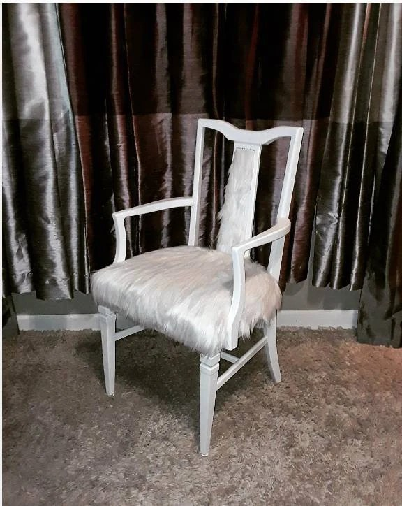 vanity chair white fur gym twister seat mid century accent arm etsy image 0
