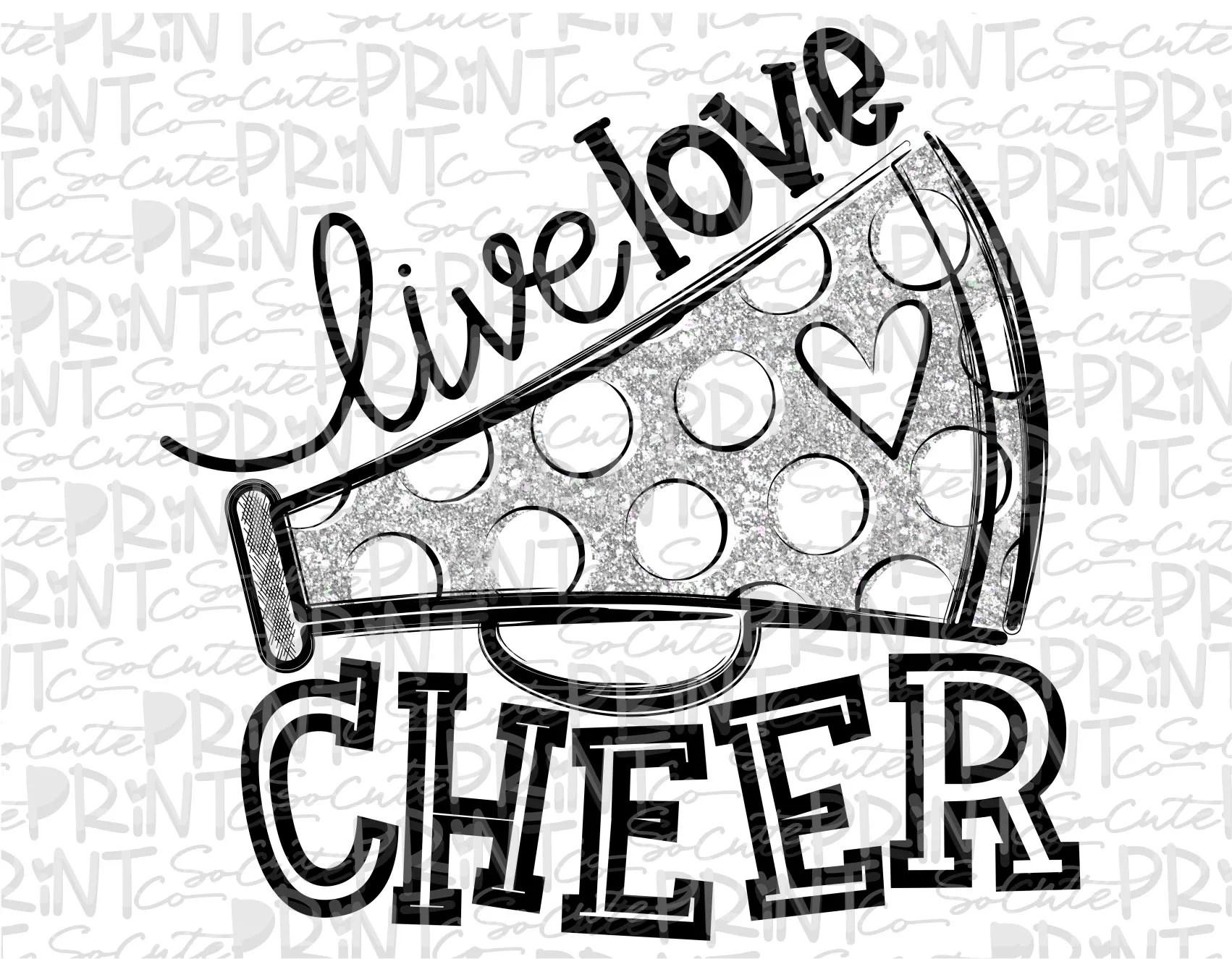 Live Love Cheer Clipart Football Mom Megaphone Clipart