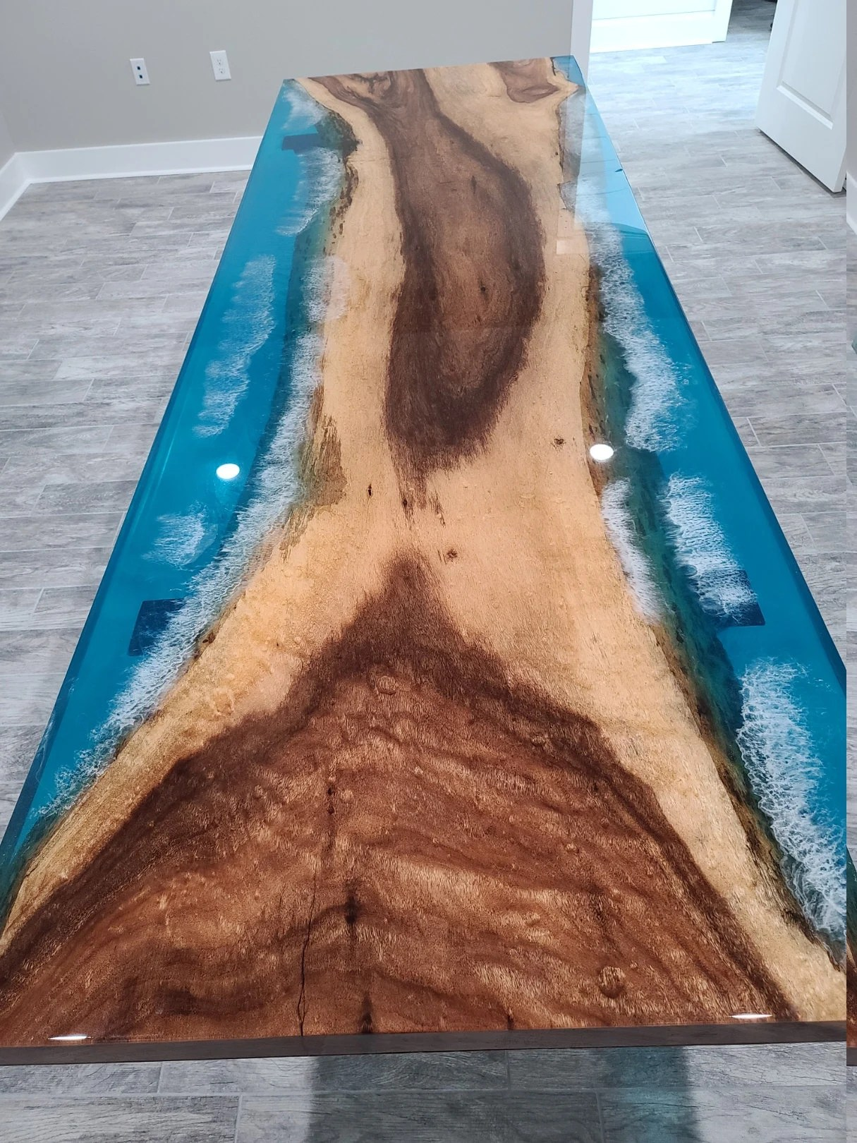 coastline river table epoxy resin waves modern art dining table free shipping