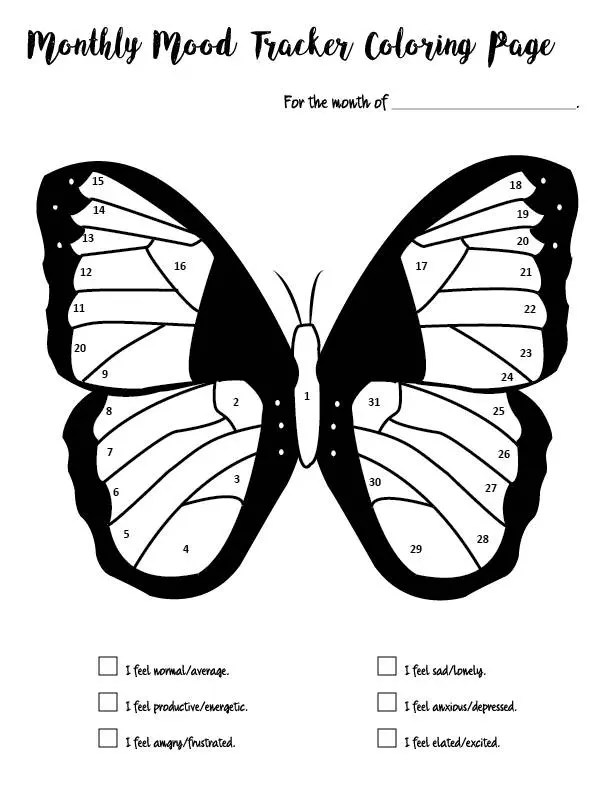 Mood Tracker Monthly Butterfly Coloring Book Pages 5