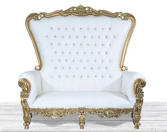 high backed throne chair car covers amazon etsy wedding double gold and white tufted back sofa with diamonds nail heads dope furniture couch bench loveseat settee