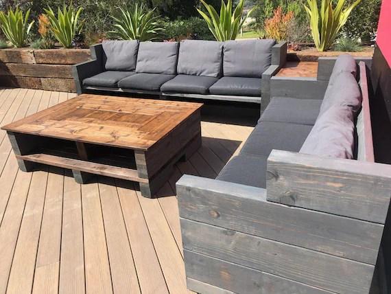 custom outdoor furniture farmhouse rustic wood patio set comfy etsy