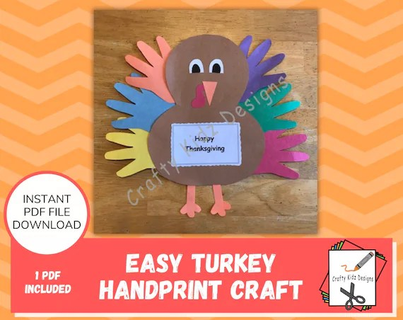 Learn how to make collage crafts for kids. Turkey Handprint Craft For Kids Fun Thanksgiving Craft Etsy