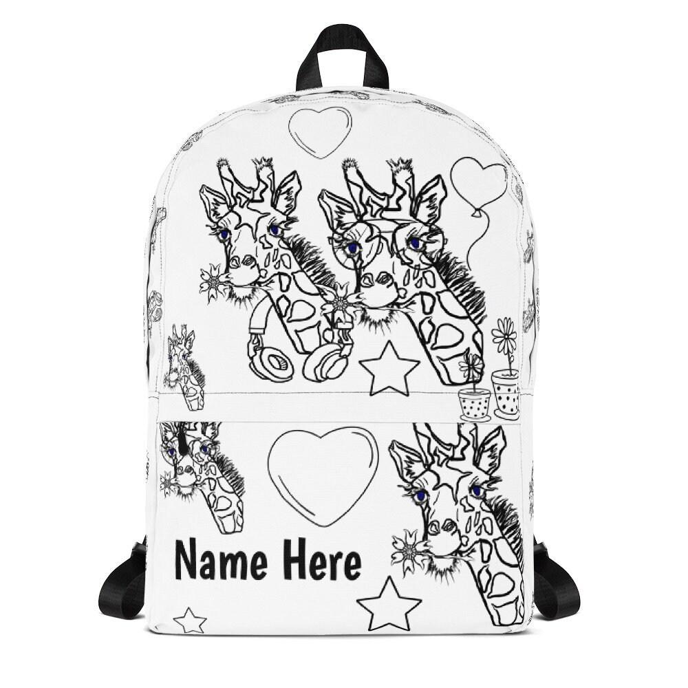 Personalized Giraffe Backpack, Colour Me Giraffe Backpack