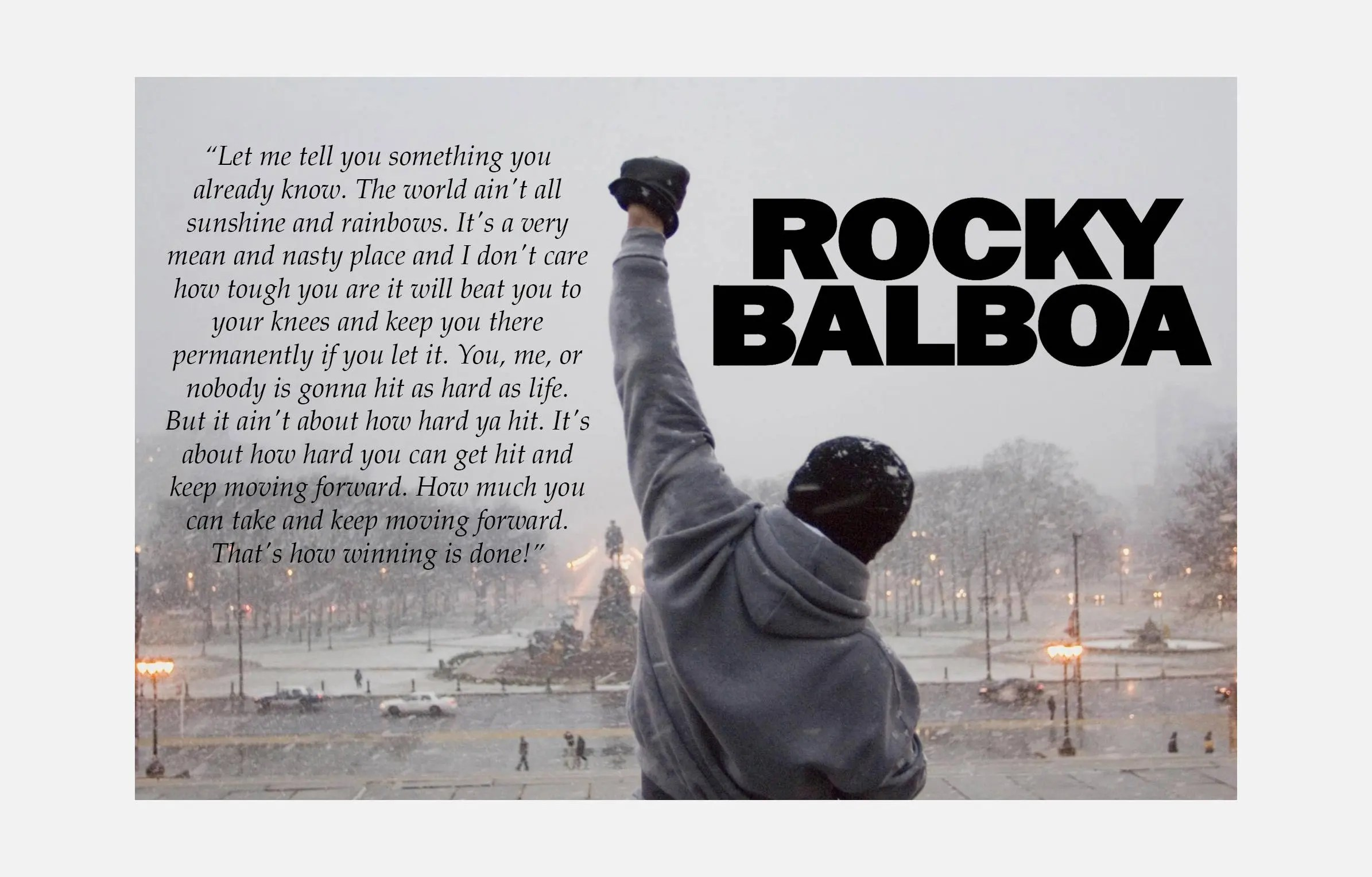Create Your Own Quote Wallpaper Free Rocky Balboa Quote Color Print Poster Or Canvas Etsy