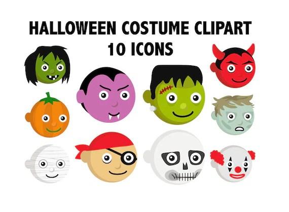 Halloween Costume Clipart Printable Kids Costume Emoji Etsy