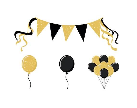 party balloon clipart glittery
