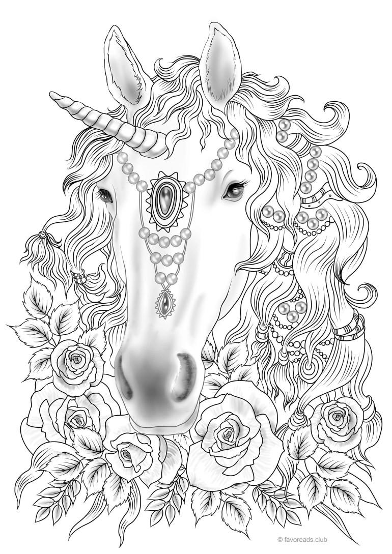 Unicorn Printable Adult Coloring Page from Favoreads   Etsy   free printable coloring pages for adults unicorns
