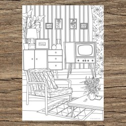 Retro Living Room Printable Adult Coloring Page from Etsy