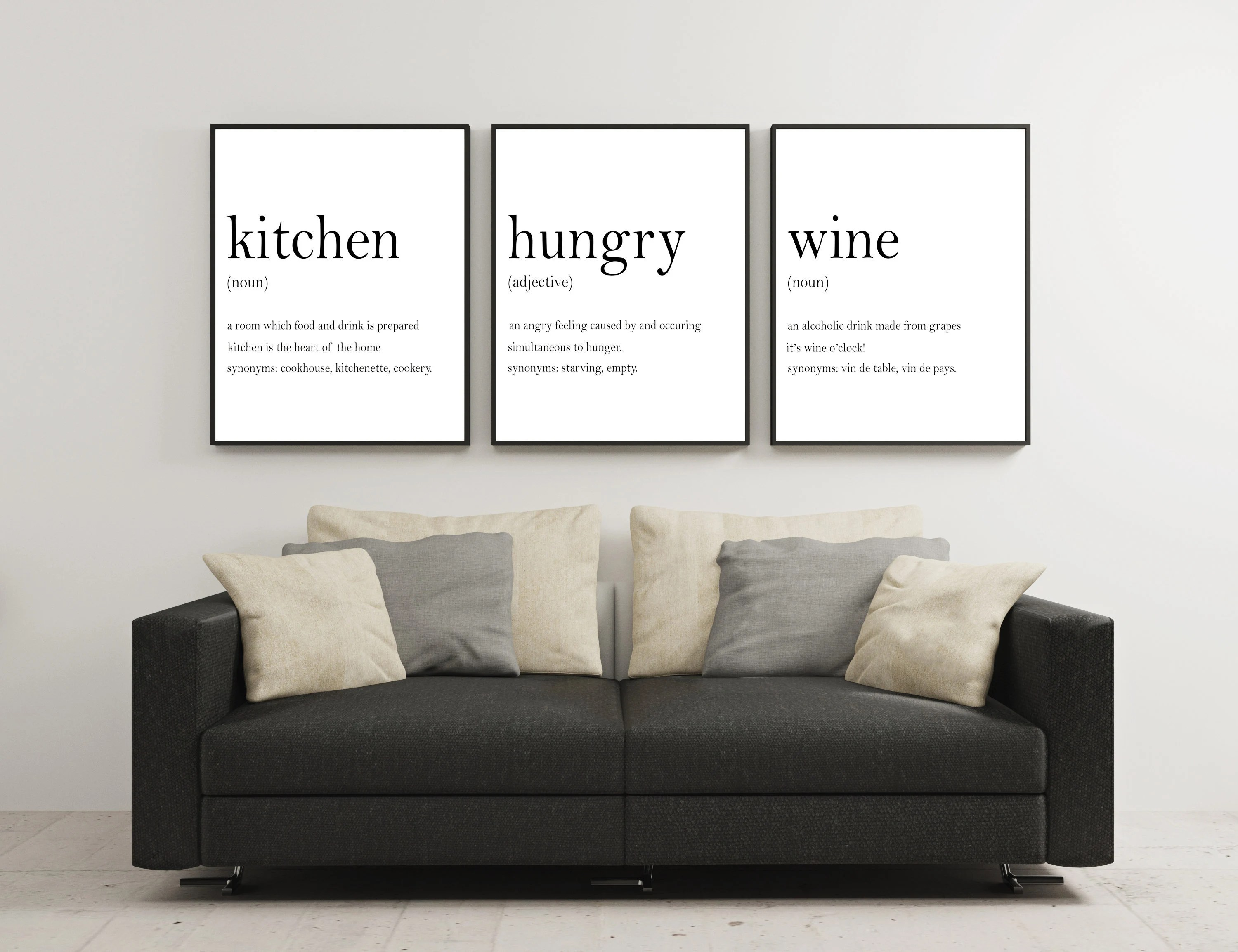 kitchen wall art antique grey cabinets print etsy prints set definition sign hunger angry noun wine of 3 digital download quote