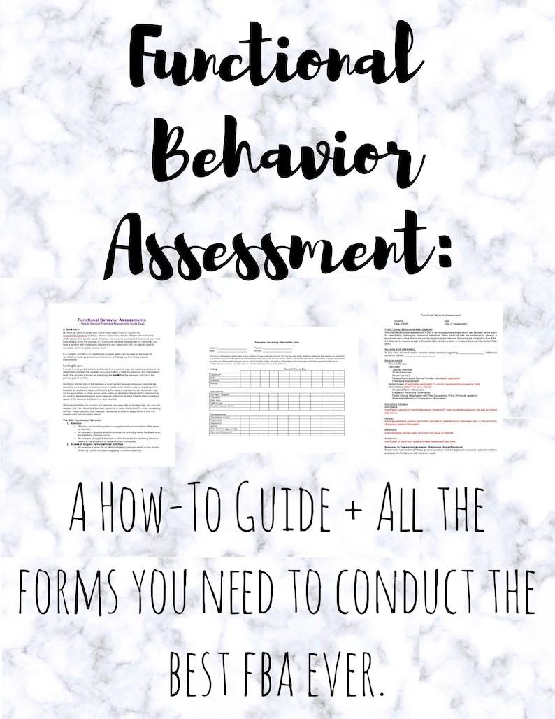 Functional Behavior Assessment Fba For Special Education Etsy