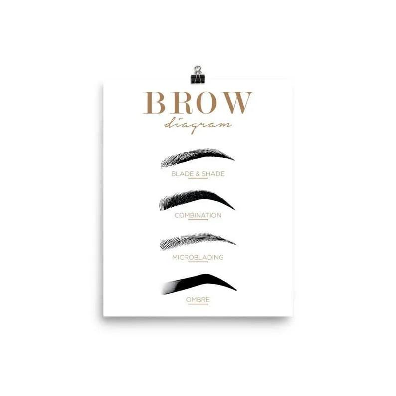 Brow Diagram Eyebrow Cheat Sheet Eyebrow Symbols Printable