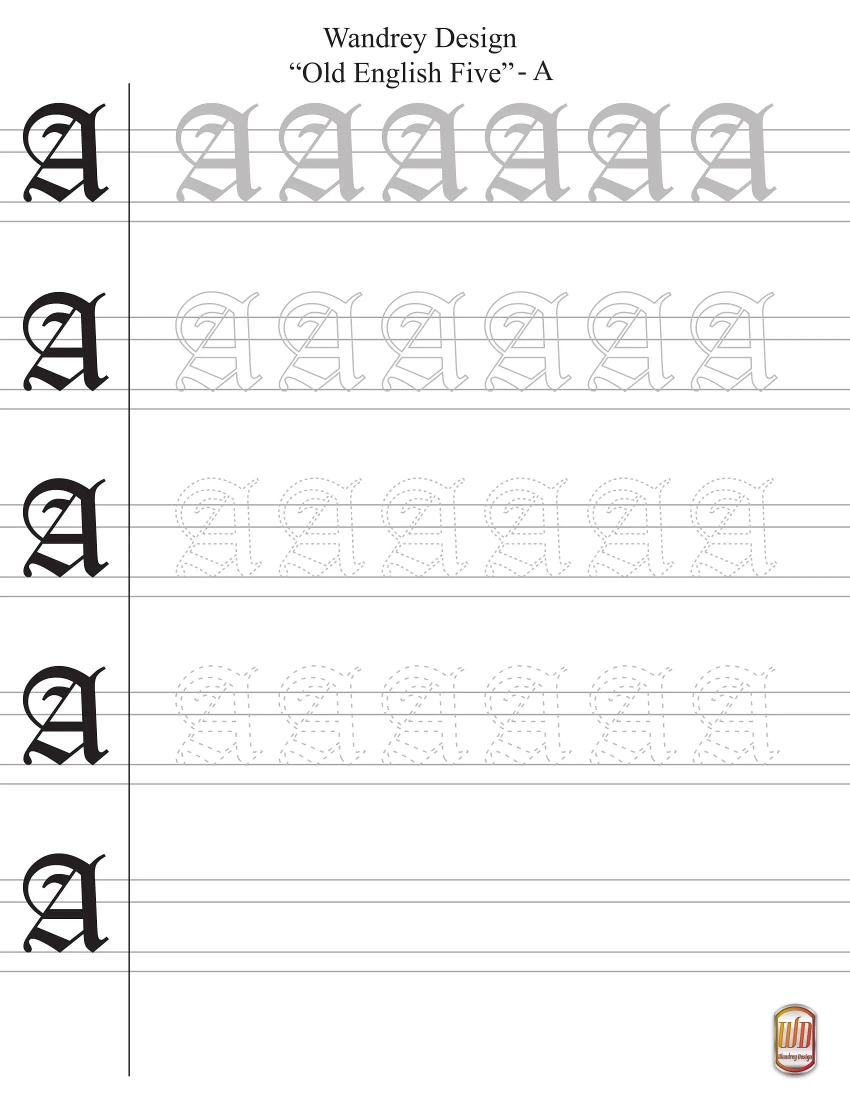 Printable Uppercase Old English Calligraphy Worksheets
