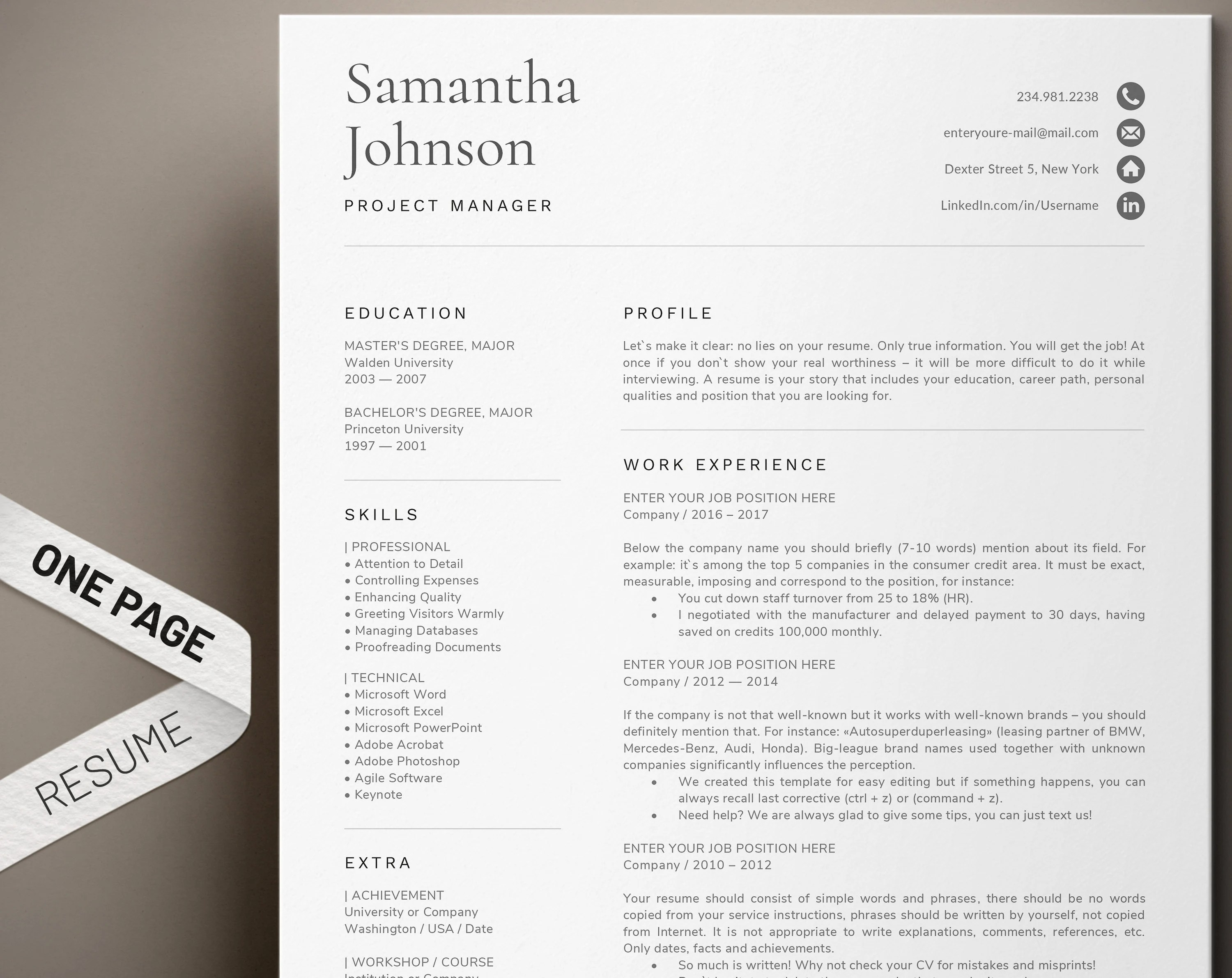 1 Page Resume Template Modern And Professional Cv Template