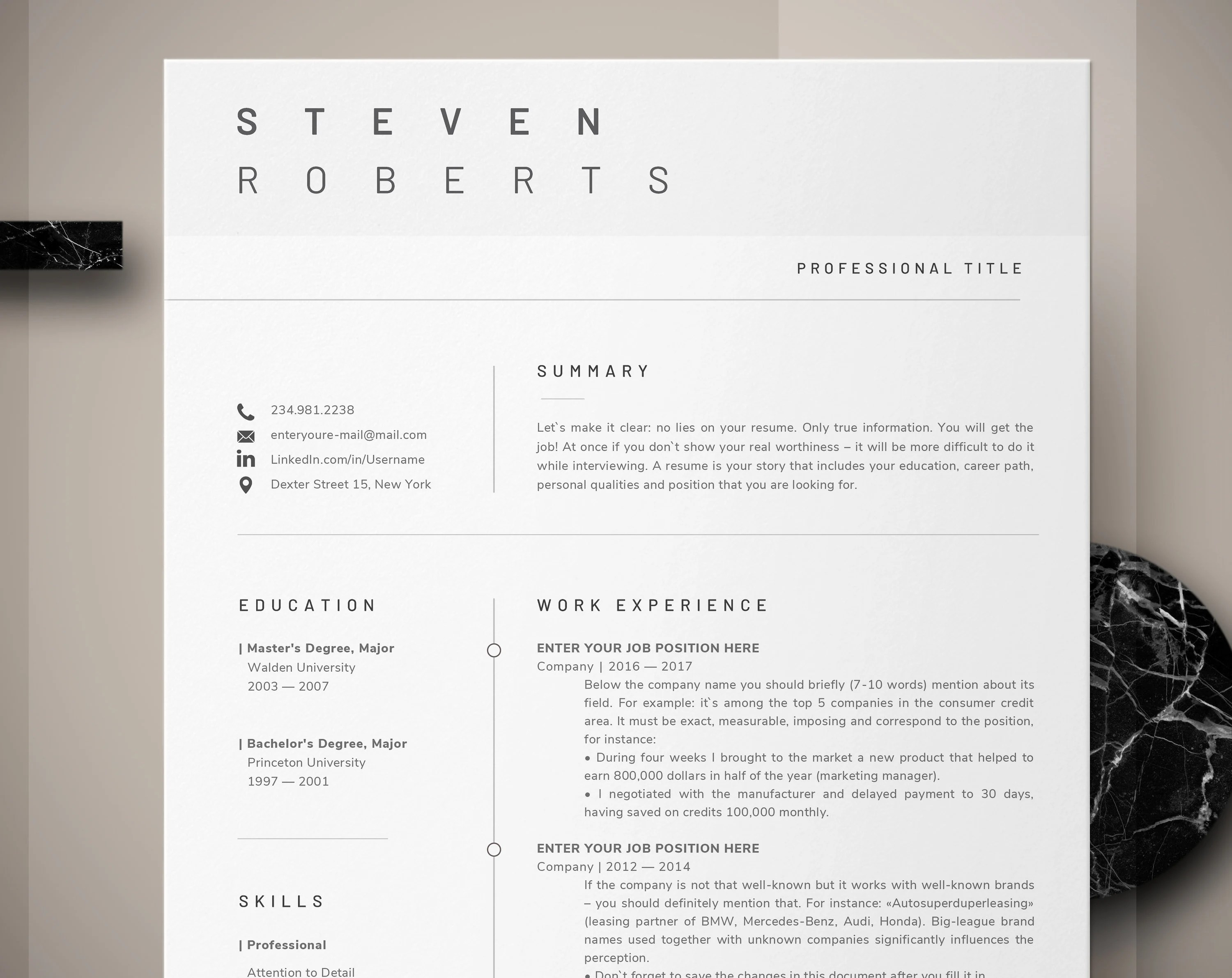 How To Make A Resume On A Mac Modern Resume Template Cv Template Cover Letter Professional Resume For Word Instant Digital Download Mac Or Pc 2 Page Minimal Resume