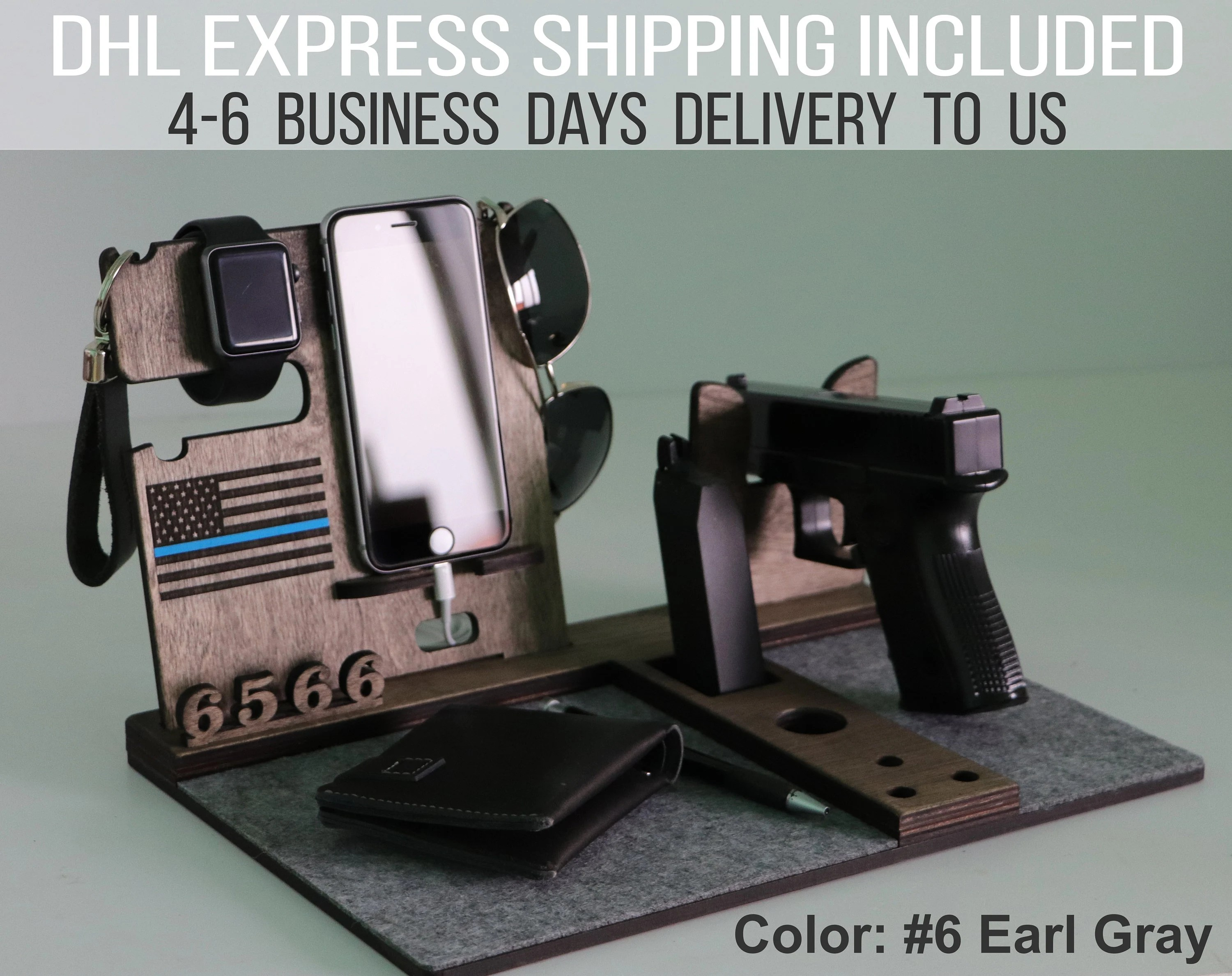 Phone Docking Station For Gun Custom Iphone And Gun Stand Bedside Table Gun Holder Multi Charging Station Law Enforcement Gift