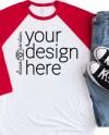 Red Raglan Mockup Bella Canvas 3200 Shirt Mockup 3 4 Sleeve Etsy